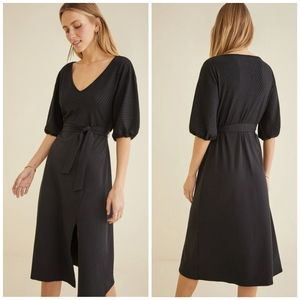 NWT Amour Vert Black Ribbed Abby Midi Dress